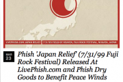 Phish 'Japan Relief' (7/31/99 Fuji Rock Festival) Released At LivePhish.com and Phish Dry Goods to Benefit Peace Winds